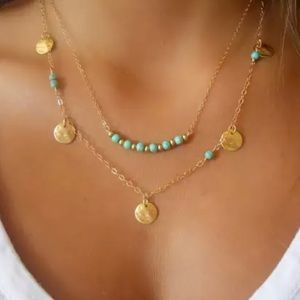 Jewelry - Gold Filled Multilayer Turquoise Bead Necklace